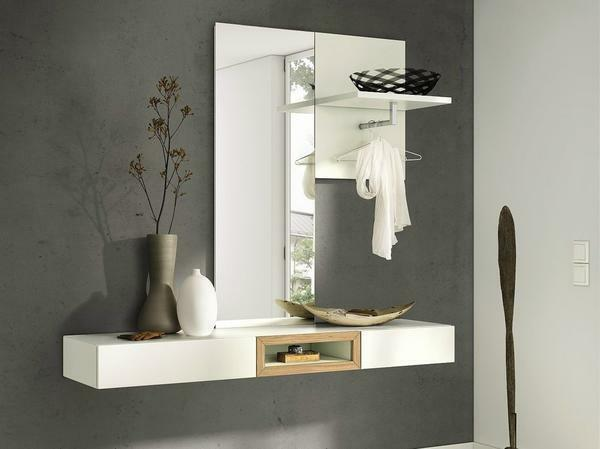 Mirror with a shelf in the hallway: photo behind the shelf, own wall cupboard, narrow racks