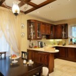 The design of the kitchen and dining area