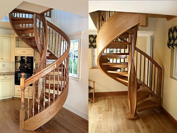 The most popular and in demand today is a spiral staircase with wedge-shaped steps