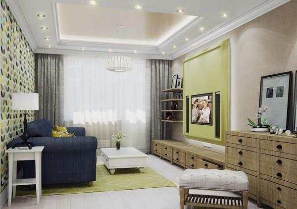 Living room 18 sq. M photo: design and studio interior, rectangular room in the apartment, how to arrange the repair of the entrance