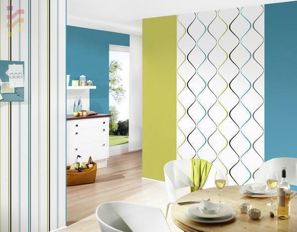 For tall kitchens, the wallpaper is good, which are separated horizontally by color strips