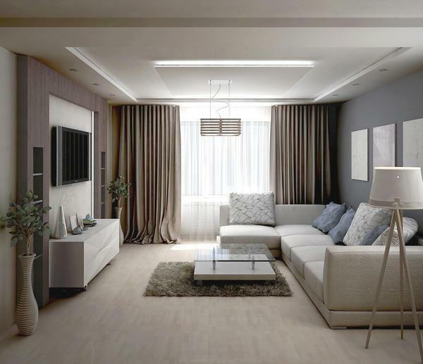 When choosing a color for a small living room, you should prefer neutral shades: white, beige or blue