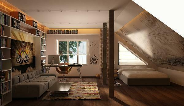 With a rational arrangement of furniture in the attic, there is enough space for a bedroom-living room