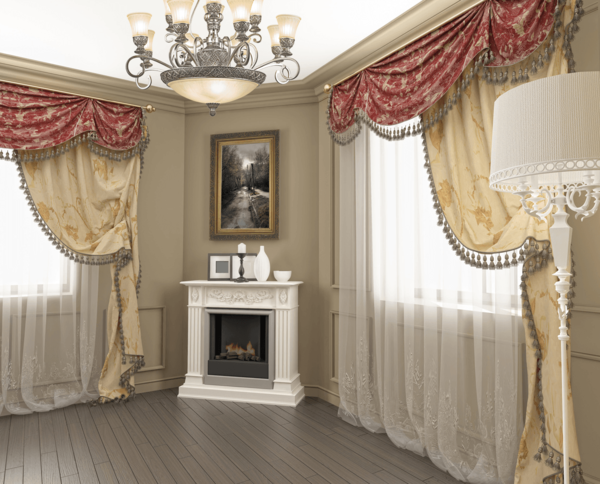 Ornate curtains in classical style organically fit into any house or apartment