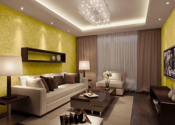 The design of the plasterboard ceiling must be chosen so that it harmoniously complements the interior of the guest room