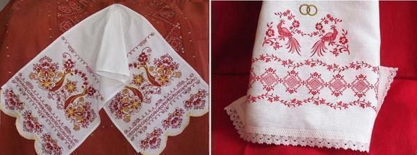 With the help of cross-stitch it is possible to decorate kitchen textiles: aprons, towels, napkins