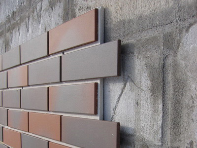MDF panel Fixing imitating brickwork, on a concrete wall