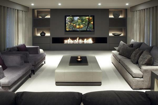 Electric fireplaces in the interior of the living room photo: electric corner fireplace, hall design, wall mounted built-in