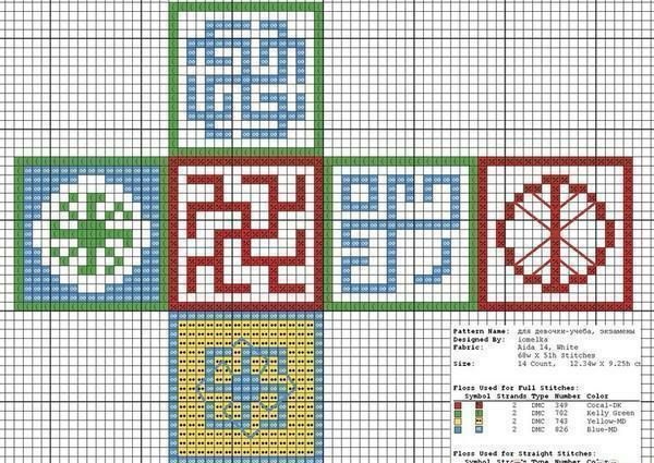 "The scheme of embroidery amulet ""happy cube"" is easy to find on the Internet"
