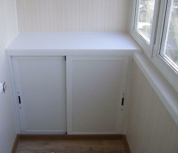 Cabinets on the balcony: locker make corner, photo built-in, loggia of plastic and PVC, storage is small