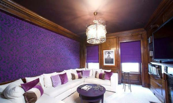 Purple wallpapers perfectly combined with white furniture or light color of the floor