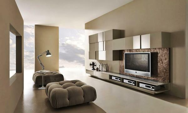 The advantage of modern trends in decorating the living room is that the furniture can be of completely different colors and shapes