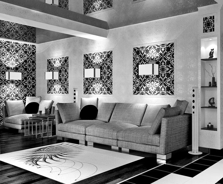 Black and white interior living room