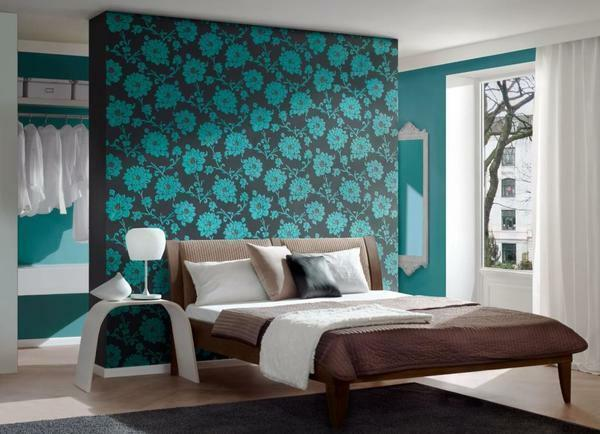 The most popular option for decorating a bedroom is a combination of blue with a brown tinge in the interior