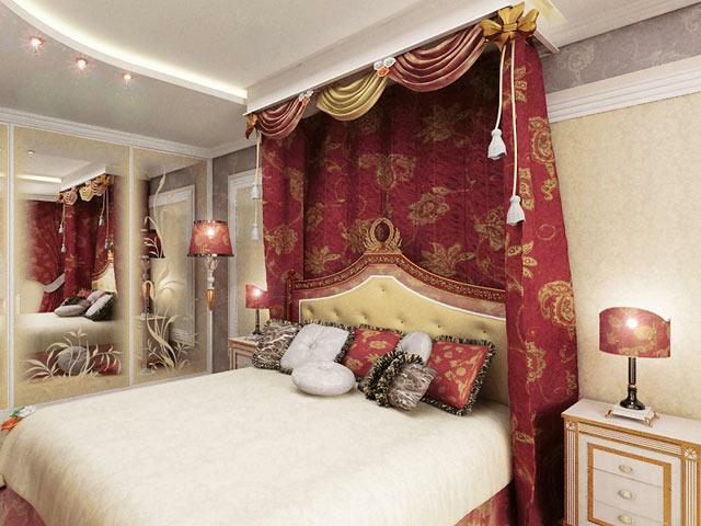 Bedroom in Oriental style: photo and design, interior with own hands, small decoration, finishing with curtains