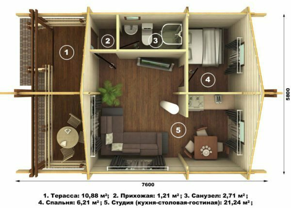 Storey house area of ​​44 square meters.