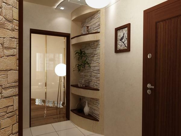 A natural or artificial stone can be harmoniously entered into the interior of the hallway