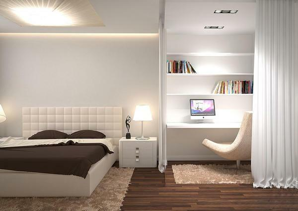 Sleeping and working areas that are in the same room, it is better to design in a minimalist style, choosing only a light color scheme