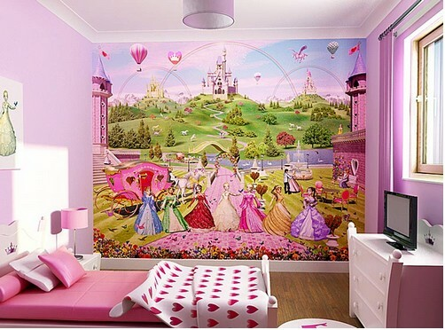 Mural with fairy tale characters in children's