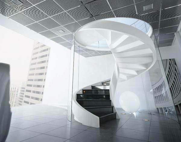 Concrete spiral staircases: round and U-shaped, semicircular drawings, photo yourself