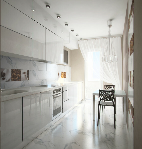 The white color gives the room a visual compact volume.