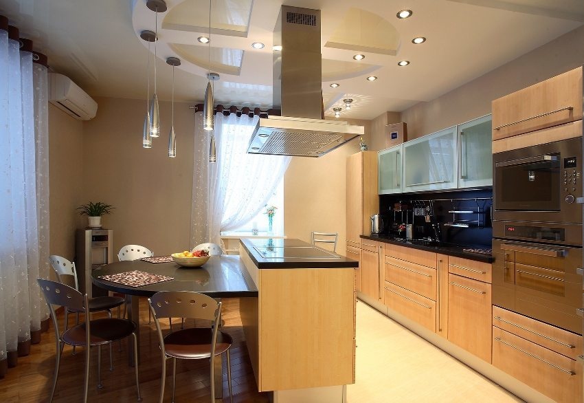 Suspended ceiling in the kitchen. Design. Photo solutions. proper erection
