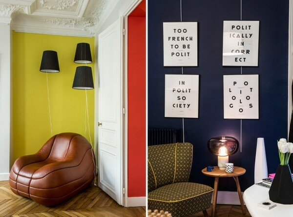 Here - blue, and there - red - bright interior concept in French