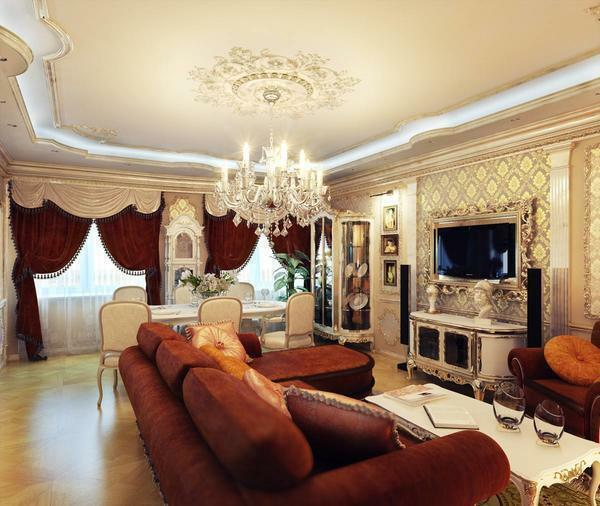 Gypsum plasterboard ceiling is able to perfectly complement the design of the living room and emphasize its uniqueness