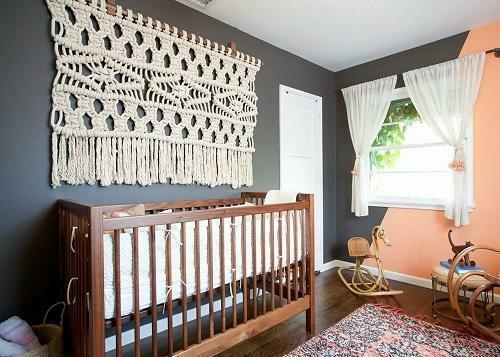 Wickerwork in the technique of macrame creates an atmosphere of warmth and comfort in the bedroom or a children