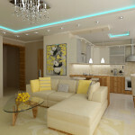 The design of the living room-kitchen