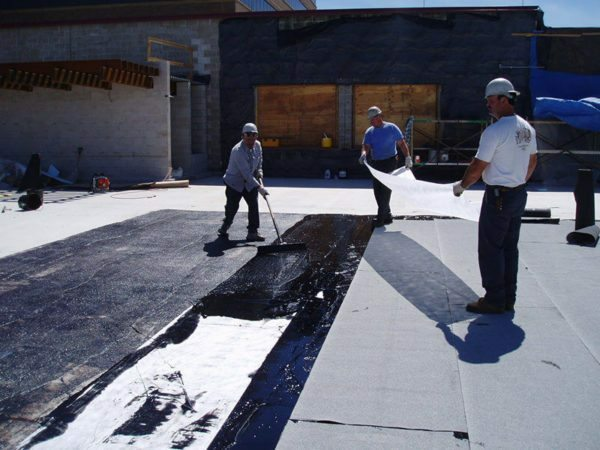 Treated mastic asphalt roof should be covered with waterproofing roll