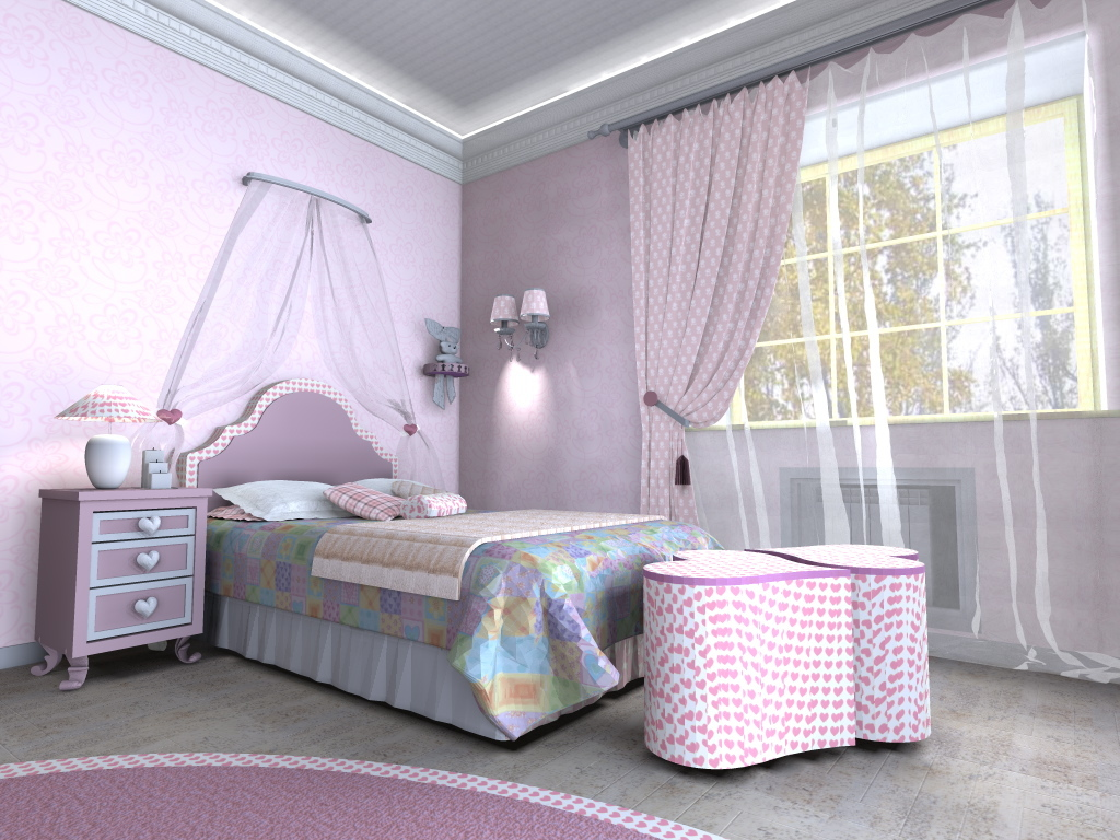 Design a child's room for a girl with his hands