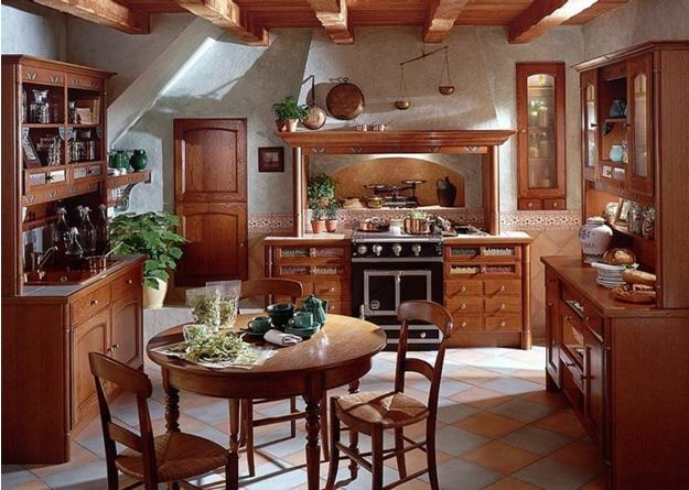 The kitchen in the style of Provence: the formulation of decorative stone in large areas, particularly the Mediterranean design