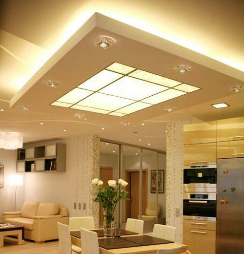 The choice of lighting devices on the ceiling is large enough, but you should pay attention to the height of the room and its interior