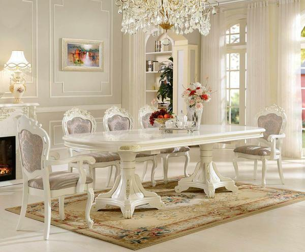 Dining tables for the living room photo: kitchen-hall with large chairs, interior and design of a small dining room