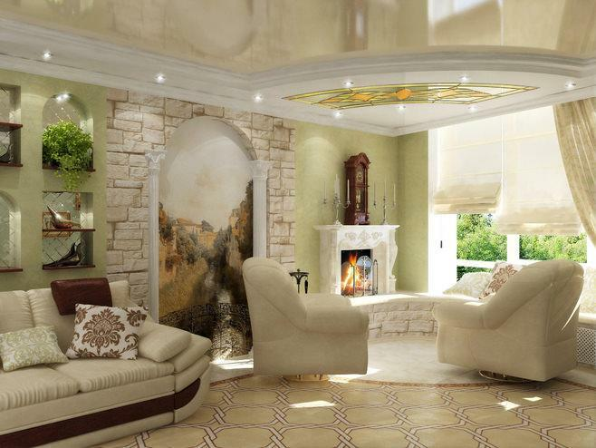 Frescoes in the interior of the living room photo: wall mosaic, interior design and walls in the hall