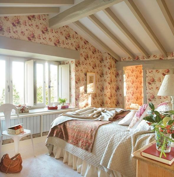 To design a bedroom in country style, designers recommend using gentle pastel colors