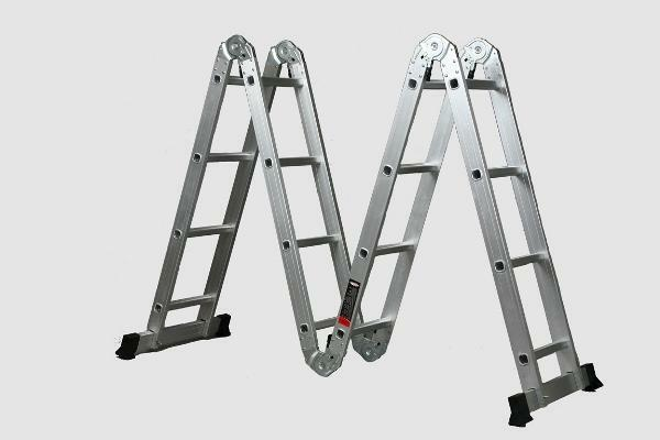 Stairs 2 sections: two-section and four, aluminum single-section sliding, step-ladder and retractable