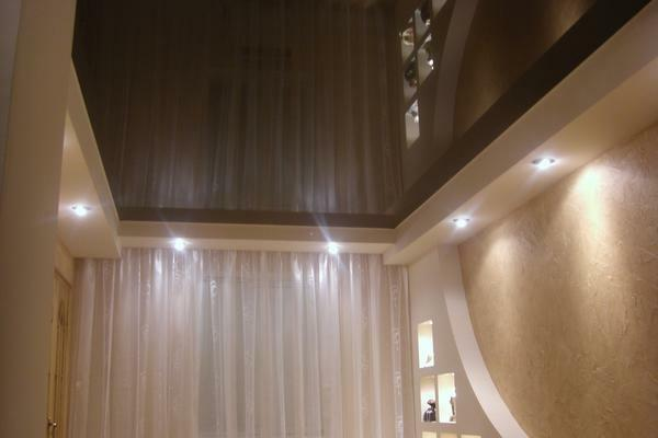 Glossy ceiling doubles the amount of light that is reflected from the chandelier or other appliances