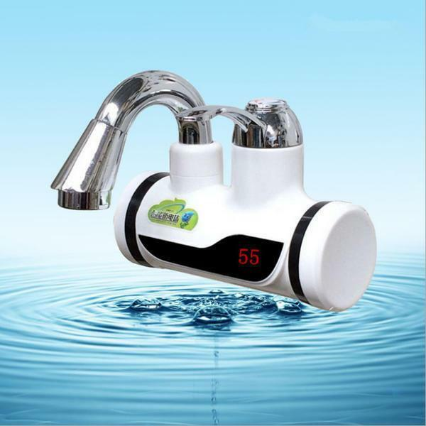 Flowing electric water heater on the faucet: electric crane with heated running water, instant mixer