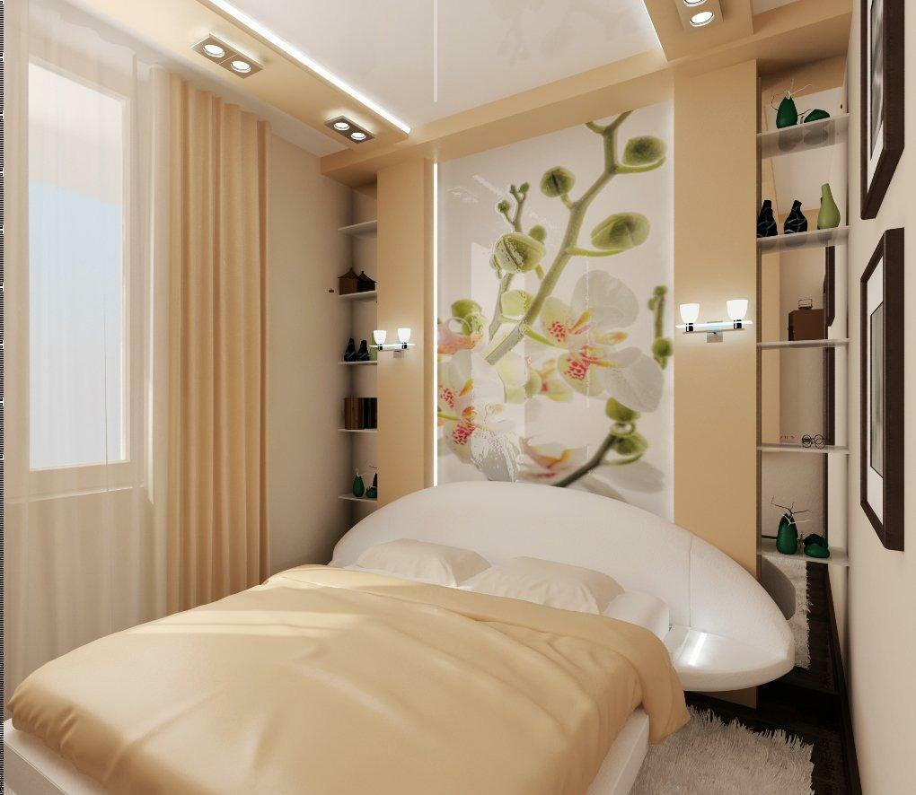 Light colors in the interior of a small bedroom can visually increase its space