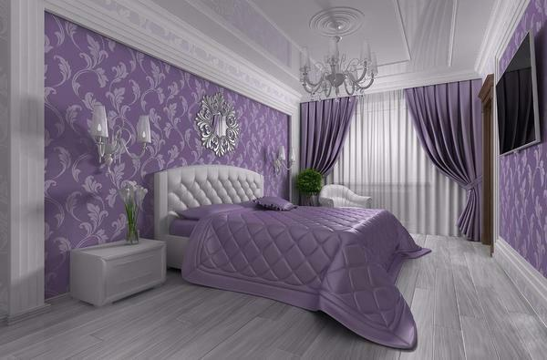 Purple bedrooms: tone and photo design, colors in the interior, with white furniture and a gray wall, beige-black