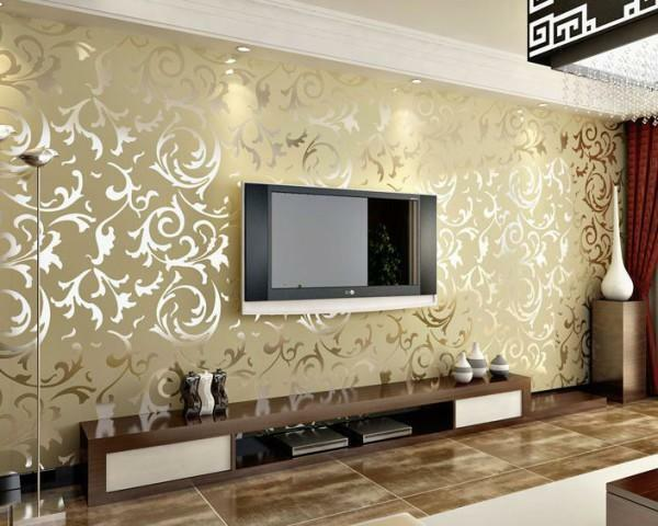 Vinyl wallpapers in the interior of the living room give the room an exquisite look
