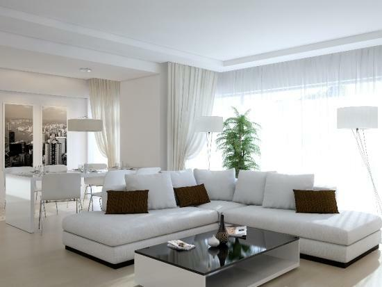 Living room in white is a refined room with a special charm