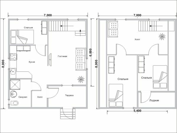 Increased to 94 m2 total area of ​​the first and attic floors allowed to place a third bedroom.