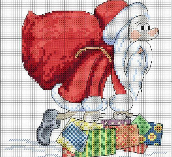 New Year's cross-stitch scheme: miniatures of toys, little Santa Claus in boots, motives 2017 free download