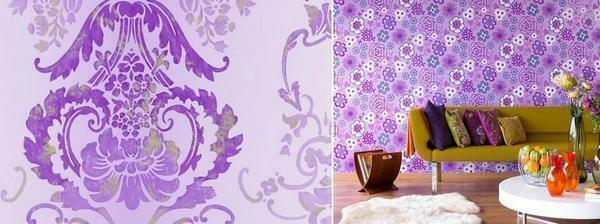 Wallpapers with purple flowers will be a creative and colorful solution for the design of the room