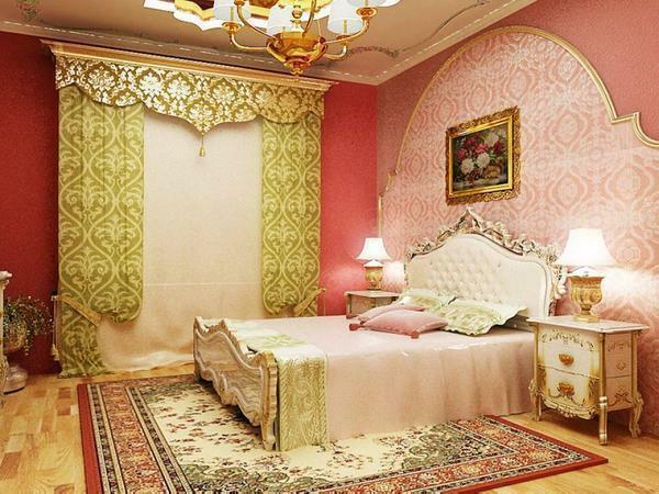 In the bedroom in the oriental style necessarily use carpets, preferably handmade