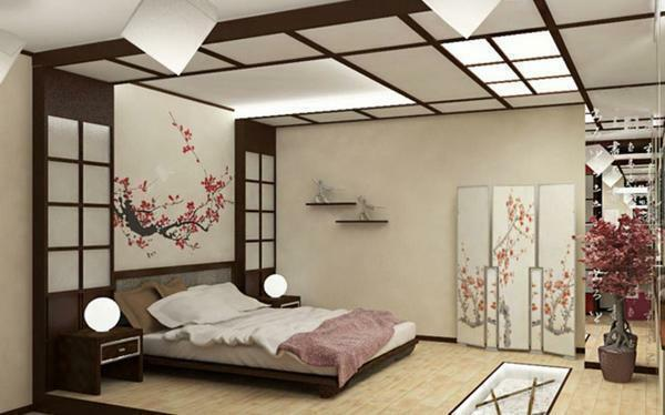 The bedroom, decorated in Japanese style, looks very nice and interesting