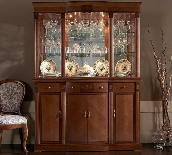 Buffet for dishes in the living room: photo of a corner cabinet, a classic display case, dressers and furniture, a beautiful modern pedestal